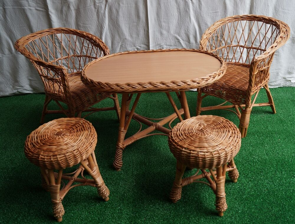 Wicker natural table and chairs stool SET GARDEN