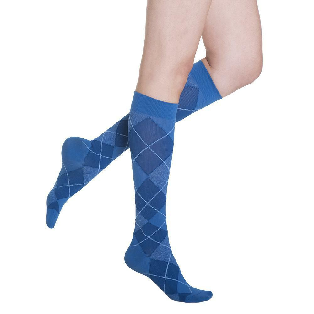 b93526aa6b Details about Sigvaris 20-30 MMHG Compression Knee High Stockings  Microfiber BLUE 832 Size SS