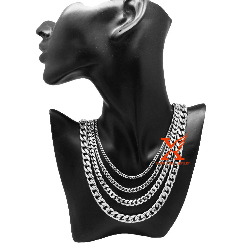 """3-14mm Mens Necklace Curb Cuban Link Silver Tone Stainless Steel Chain 18/""""-36/"""""""