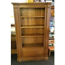 Vintage 4-shelf Ornate Oak Bookcase w/Drawer-Part of French Hen Style Piece RARE