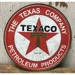 TEXACO PETROLEUM PRODUCTS TEXAS COMPANY 12'' ROUND METAL WALL SIGN
