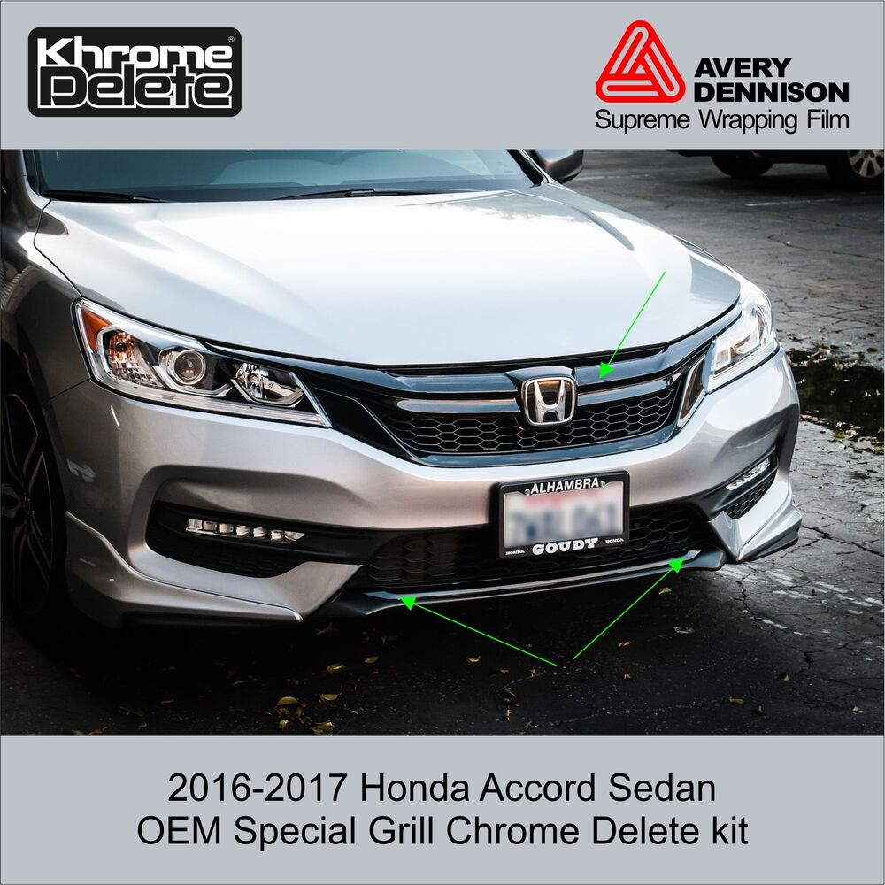 Details About 2016 2017 Honda Accord Sedan Special Edition Grill Chrome Delete Kit
