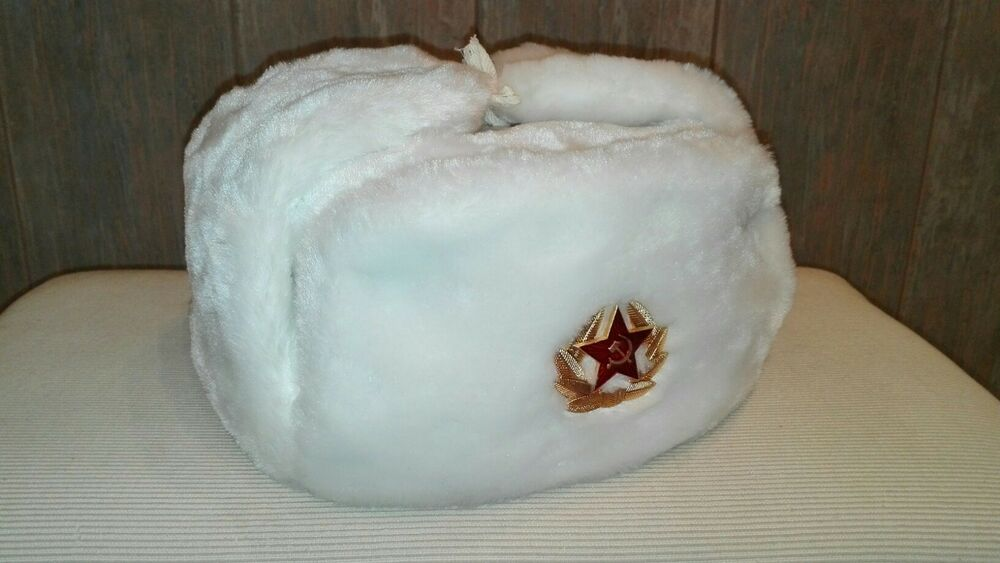 Details about Soviet Russian army soldier winter cap hat ushanka+ Red star  Badge L 68dc1ee3ff8e