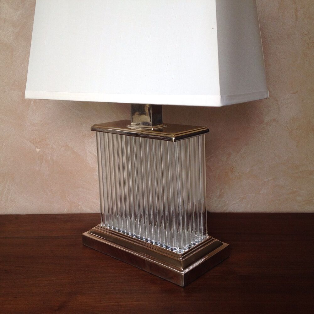 Restoration Hardware Ebay: Restoration Hardware Rectangular Crystal Facet Table Lamp