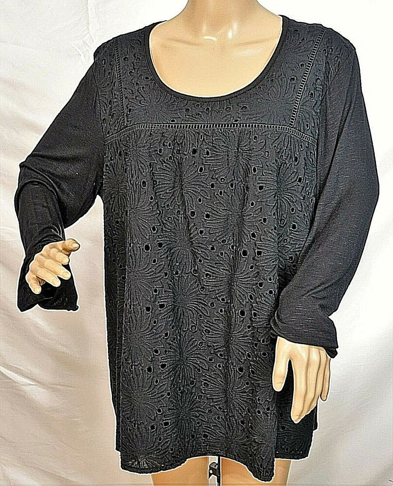 23ece9902d5 Details about Lane Bryant Women Plus Size 18 20 Black Lined Floral Tunic Top  Blouse Shirt