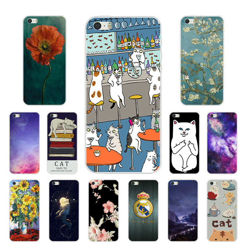 Details About Soft TPU Silicone Case For IPhone 5G 5S SE 5C Protective Back Cover Skins Cats