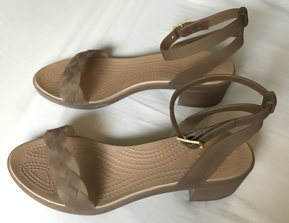 6cb3f19ca6c Details about Crocs Isabella Copper Gold Block Heels with Buckle Size 10 SO  COMFORTABLE!
