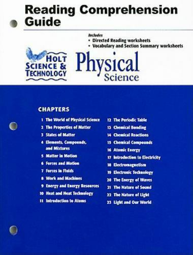 Holt Science Technology Physical Science Reading And