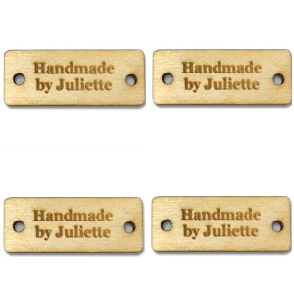 Personalised RECTANGLE Tags Buttons Wooden Handmade Products Knitted Crochet