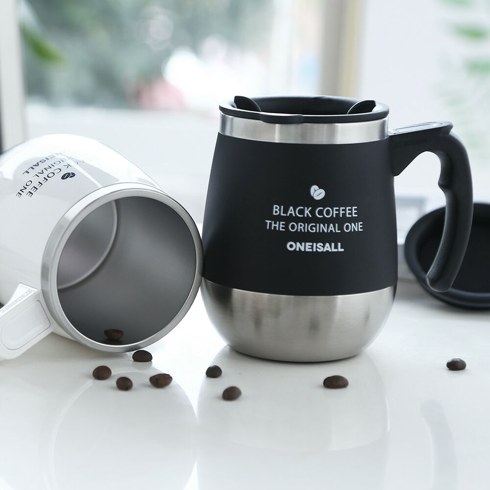 a4d35380551 Details about Hot Coffee Travel Mug Stainless Steel Thermos Tea Cup With  Handle 450ML/15oz