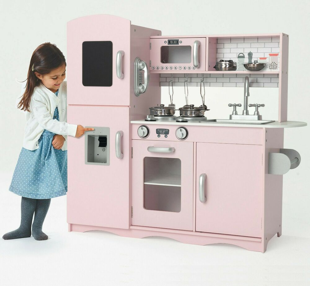 Large Play Kitchen: Deluxe Kids Toy Kitchen Large Children Wooden Cooker Girls