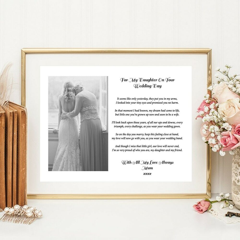 Gifts For Bride On Wedding Day From Bridesmaid: A4 Mum, Mom, Mother To Daughter/Bride Verse / Poem Wedding