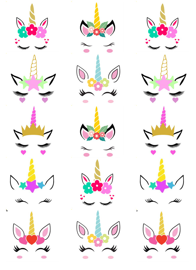 Unicorn Head Ears Horn Cupcake Toppers Edible Wafer Paper ...