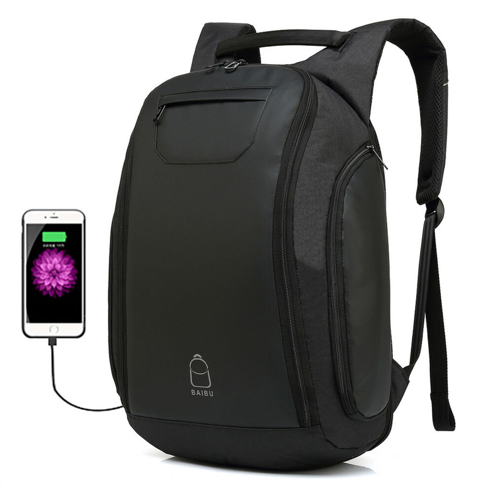 Men Travel Anti-Theft Backpack USB Charge