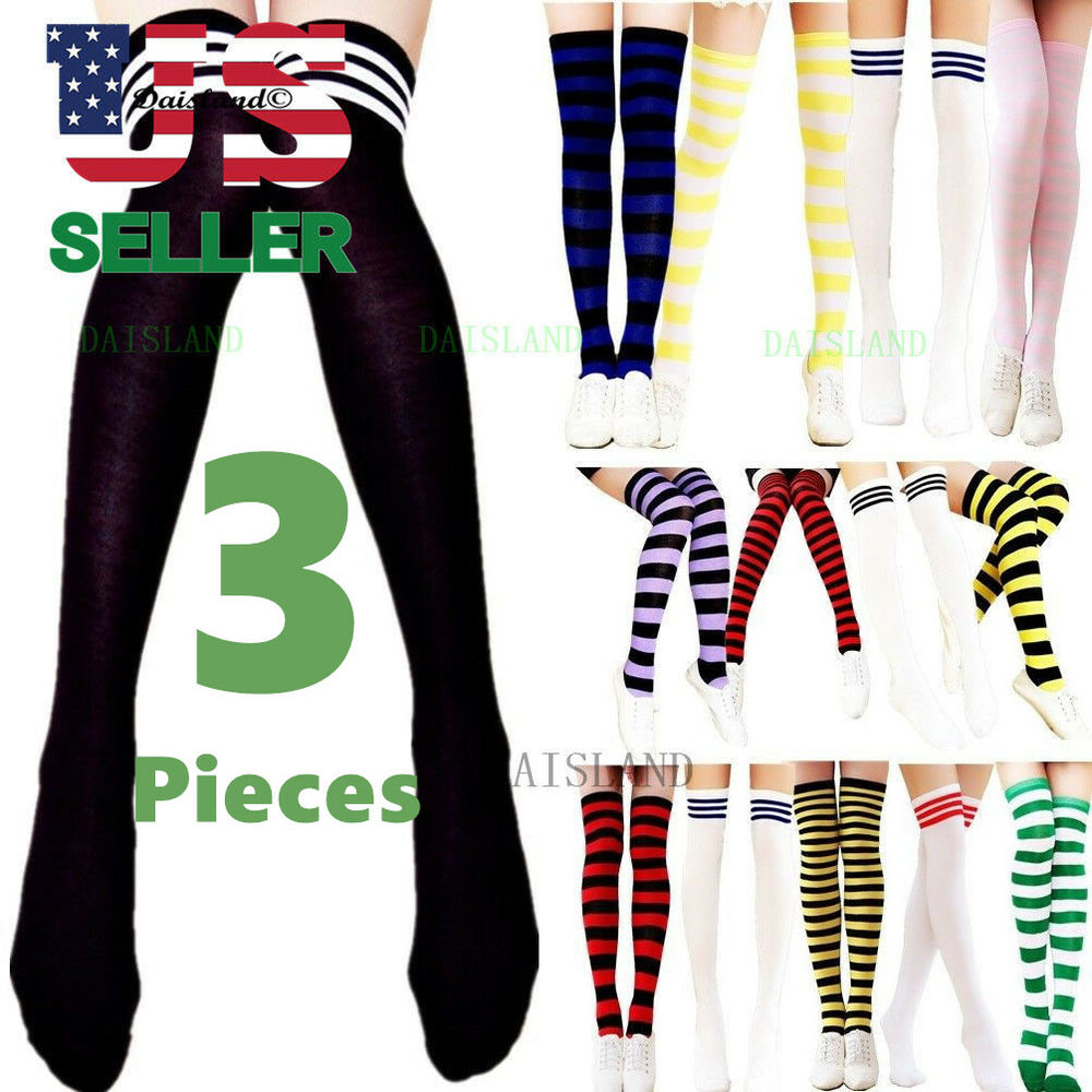 a03333ff8c1 Details about 3 Women s Striped Thigh High Socks Sheer Over The Knee Plus  Size Stockings USA