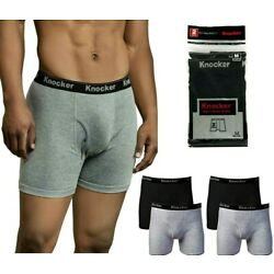 Kyпить 6 Pack Mens Boxer Briefs 100% Cotton Black Gray Underwear Underpants Lot S-2XL на еВаy.соm