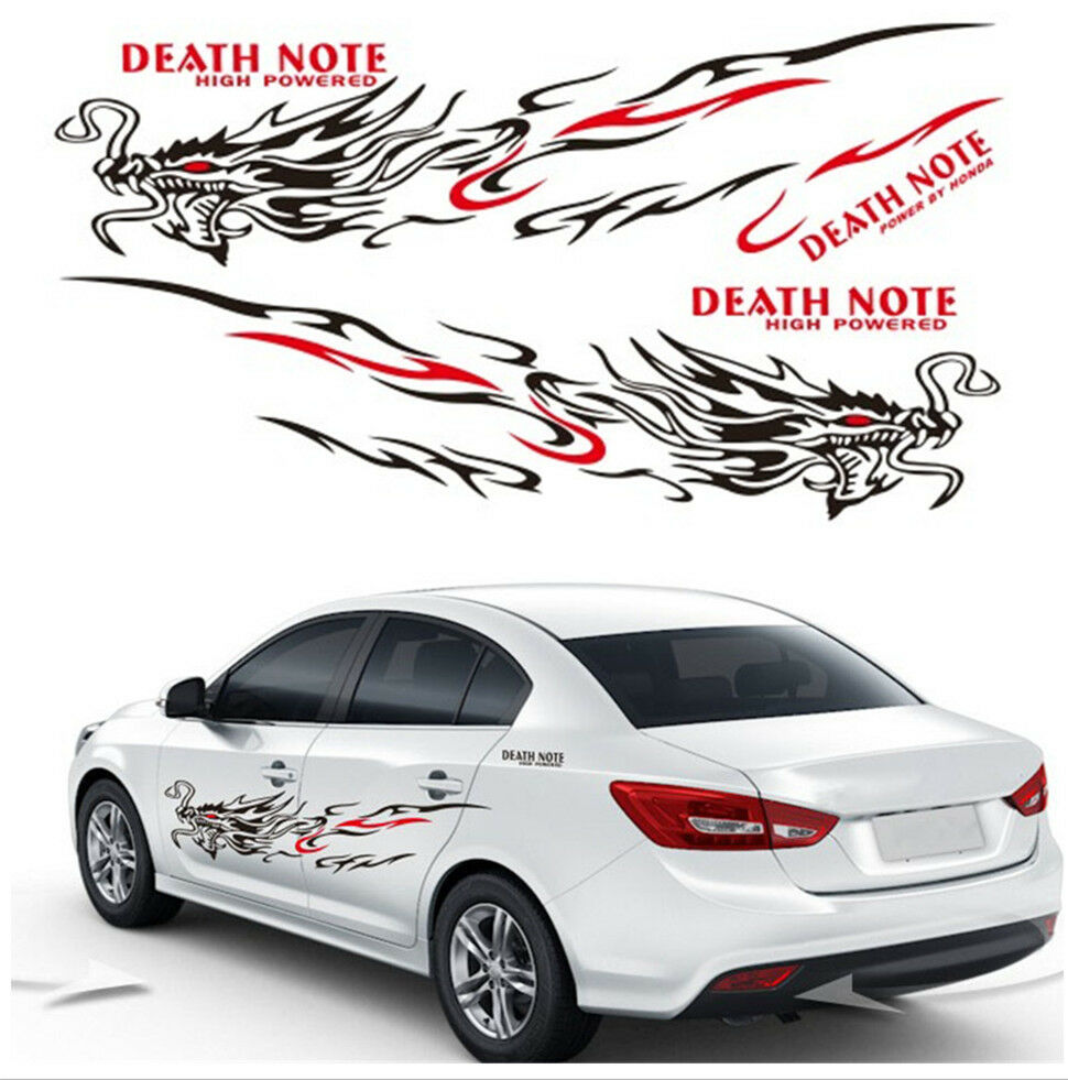 Details about 1 pair blackred car suv body dragon flame totem decals sticker vinyl graphic