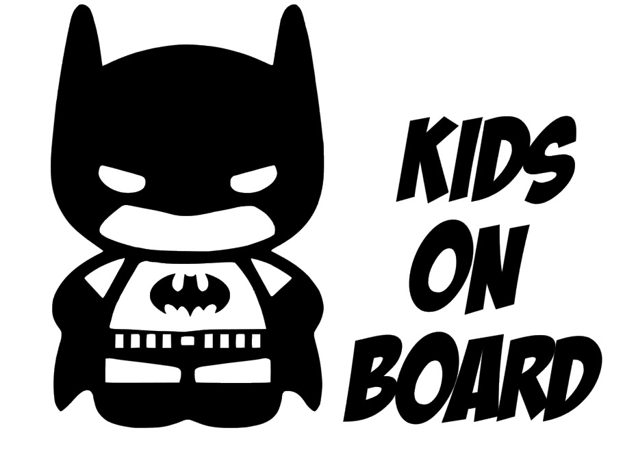Kids on board car window batman vinyl sticker decal white children ebay