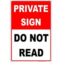 Kyпить Private Sign, Do Not Read Funny Sign 8