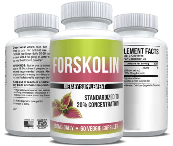 Pure Forskolin Extract 20% Standardized Health & Weight Loss Supplement
