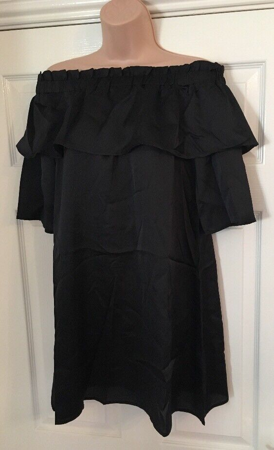 1654717354d4ef Details about Ladies Black Satin Cold Off The Shoulder Ruffles Sleeves  Smock Dress 10 BNWT