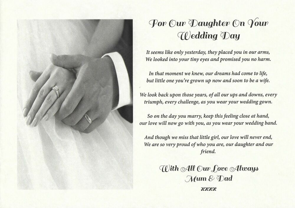 Father Gift To Daughter On Wedding Day: A4 From Mum, Mom, Dad, Father To Daughter/Bride Verse