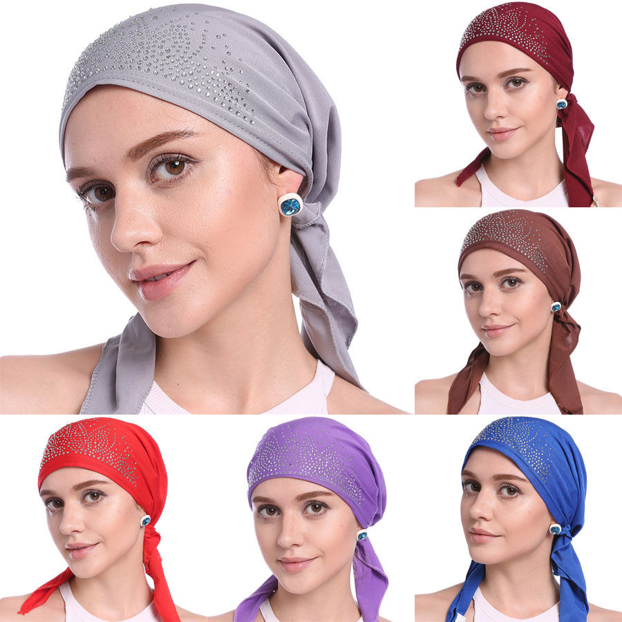 Details about Indian Elastic Head Wrap Headband Turbans Hat Muslim Bandanas  Cap Scarf Women 9064ef572bc