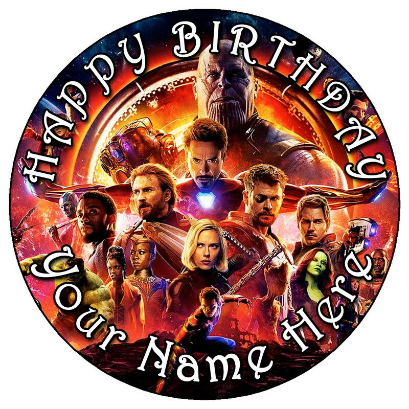 """AVENGERS INFINITY WAR PARTY - 7.5"""" PERSONALISED EDIBLE ..."""