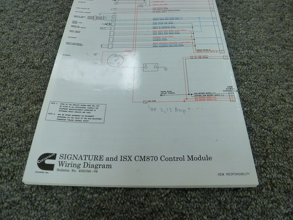 Cummins Signature  U0026 Isx W   Cm870 Control Module Electrical Wiring Diagram Manual