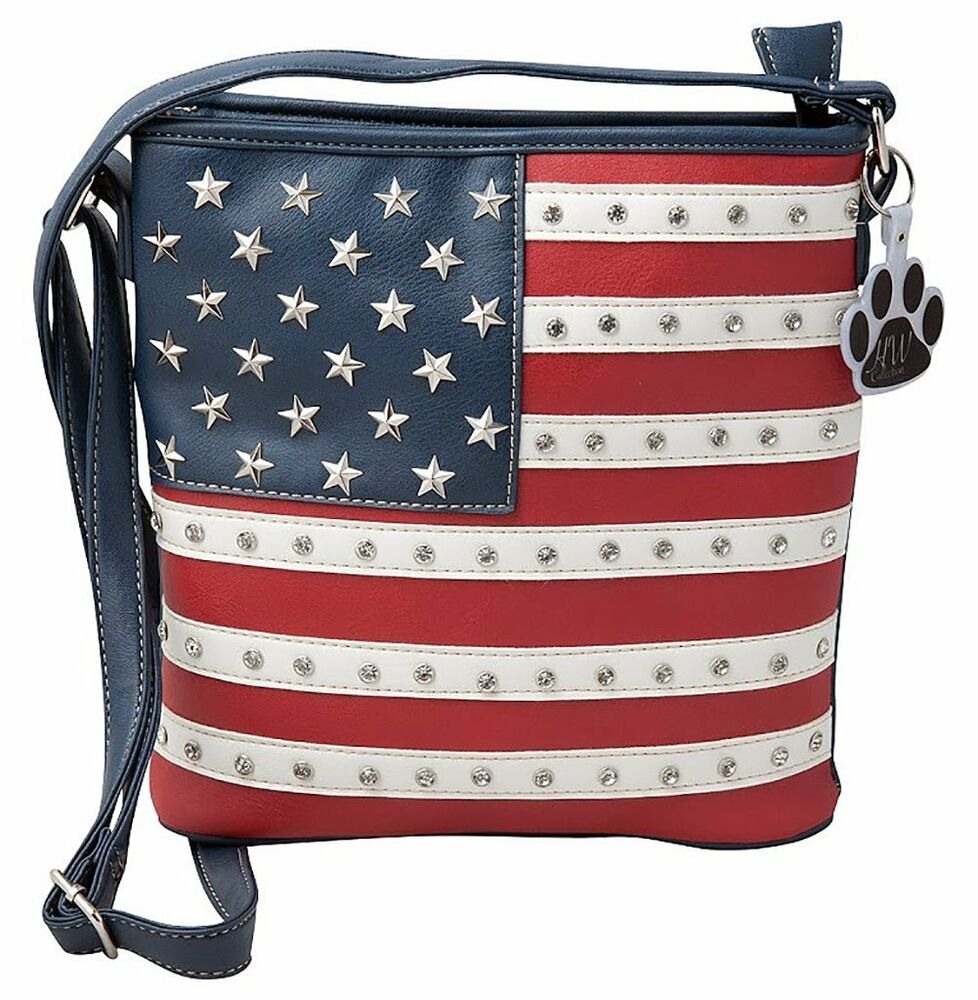 2e3259cd25f9 Western USA American Flag Stars Stripes Concealed Carry Purse Crossbody  Handbag | eBay