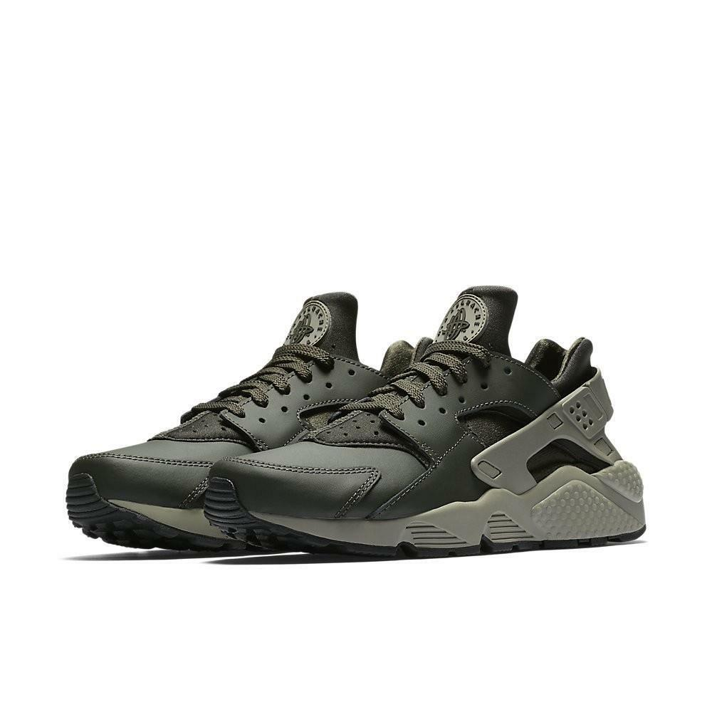 reputable site 55bb9 99b92 Details about NIKE AIR HUARACHE 318429 309 SEQUOIA GREEN DARK STUCCO GREY -  LEATHER NEOPRENE
