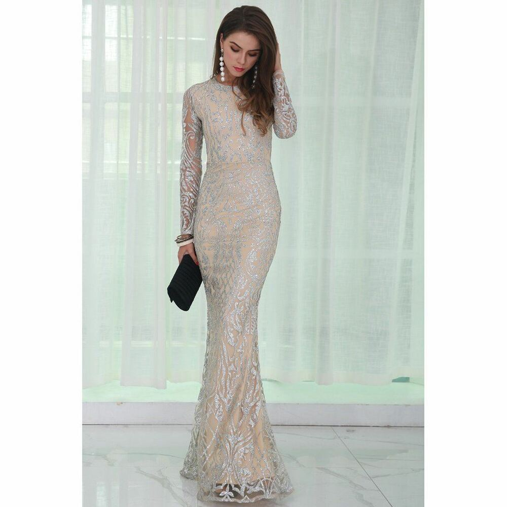 e377d783 Details about Silver Glitter Evening Dress Cocktail Formal Ball Gown Full  Length Long Sleeve