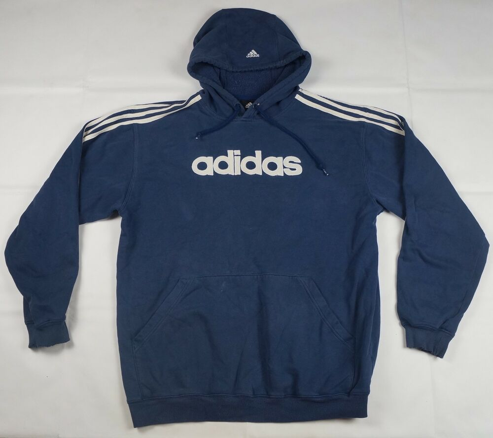 7d53017461d3 Details about Rare Vintage ADIDAS Spell Out Three Stripes Hoodie Sweatshirt  90s Navy Blue