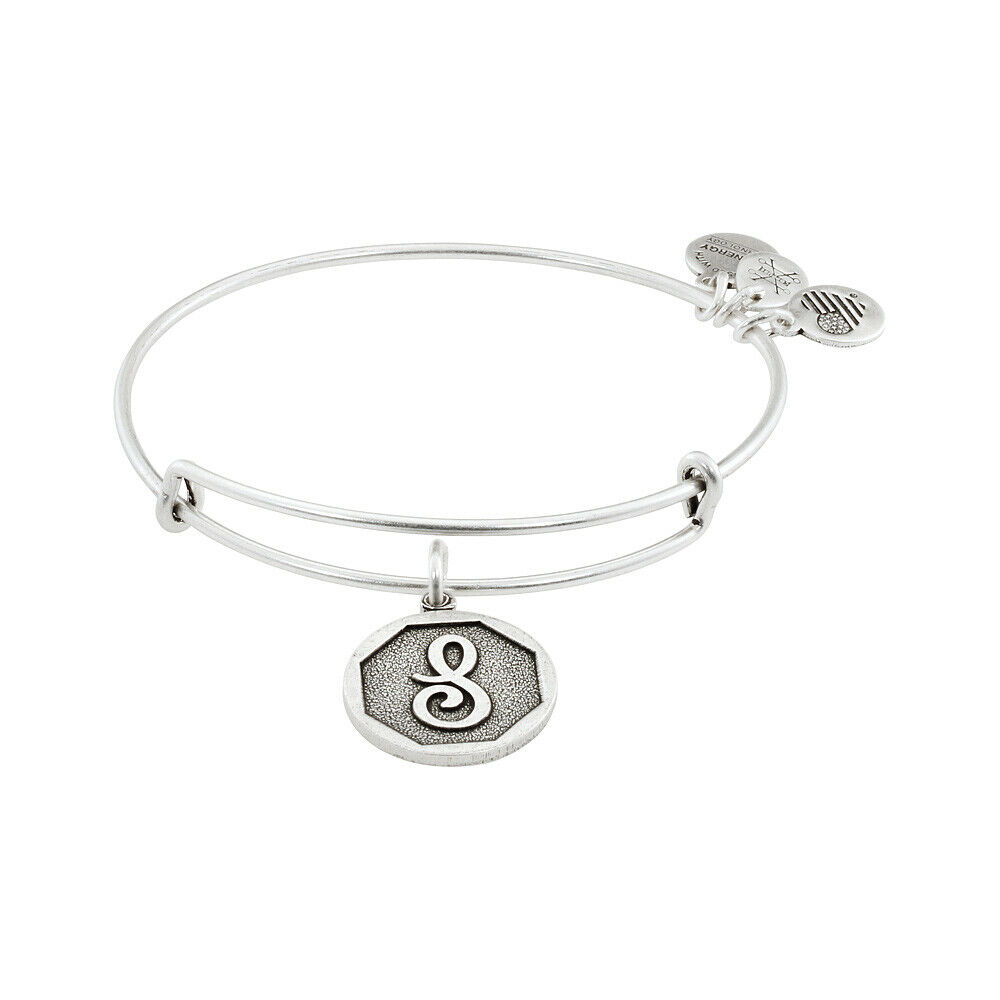 9306f71aaa8 Details about Alex And Ani Initial S Charm Rafaelian Silver Finish Bangle  Bracelet A13EB14SS