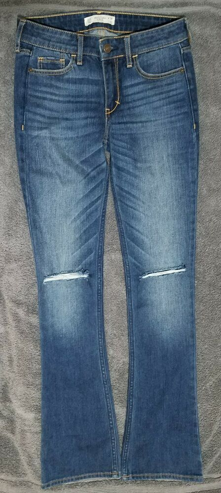 e07d33e04 Details about ABERCROMBIE & FITCH womens 24 x 31 skinny boot cut distressed  blue jeans