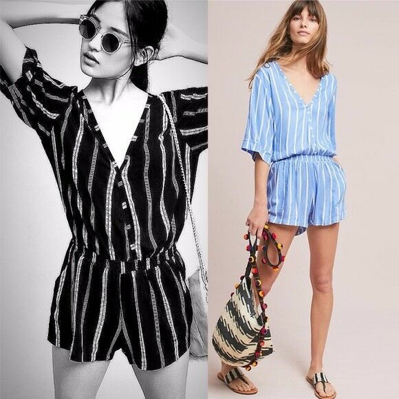 a870f840653 Details about NWT  128 Anthropologie Ancona Striped Romper by Beachgold  Size XL