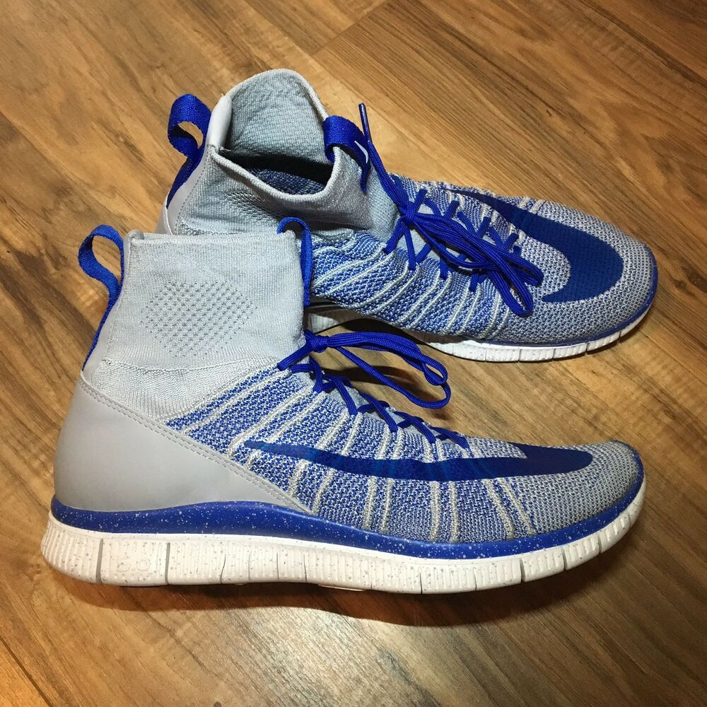 97669ae201ff Details about Nike Free Flyknit Mercurial Running Wolf Grey Royal Blue  805554-003 Size 10.5