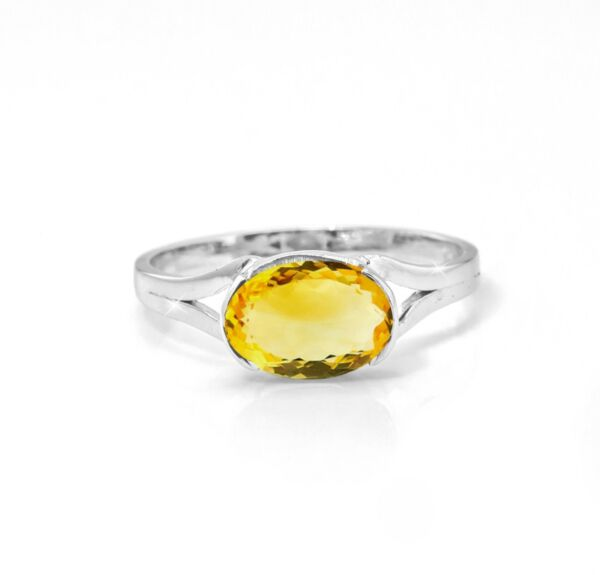 925 Sterling Silver Citrine Ring Natural Gemstone East-West Size 4-11