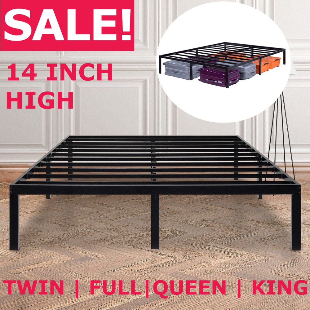 14 Inch Tall Metal Platform Bed Frame Steel Slat Twin Full