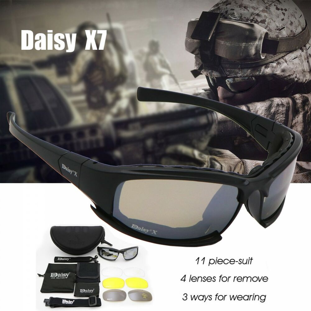 0826be21ce Details about Daisy C6 Military Goggles Bullet-proof Army Polarized Sunglasses  X7 4 Lens Men