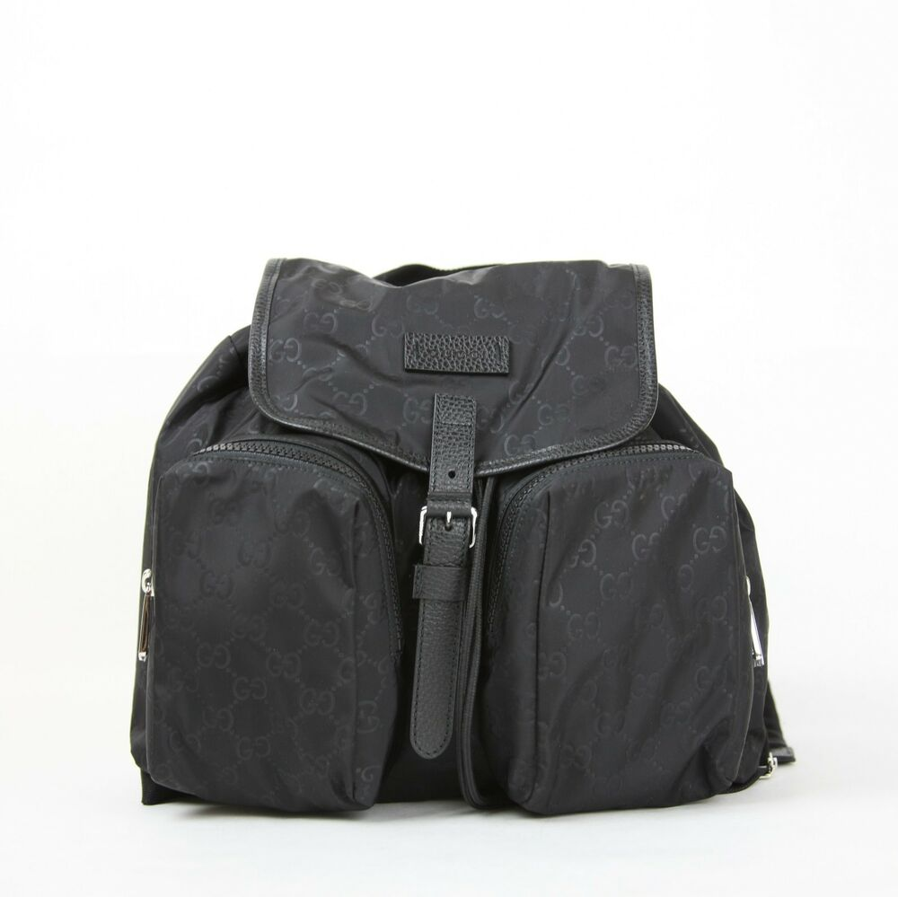 Details about Gucci Black GG Nylon Medium Backpack with Two Front Pockets  510343 1000 e45bbede69e90