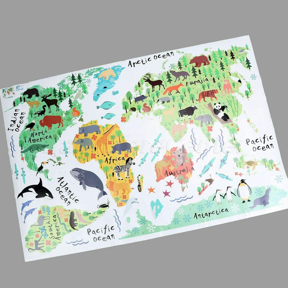 Details About Great Colorful World Map Kids Room Wall Sticker Decals  Nursery Decor Removable