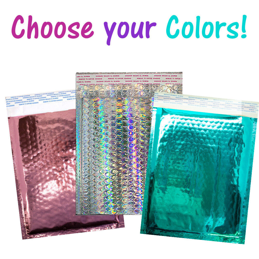 8 5x12 holographic  pink  teal metallic bubble mailers