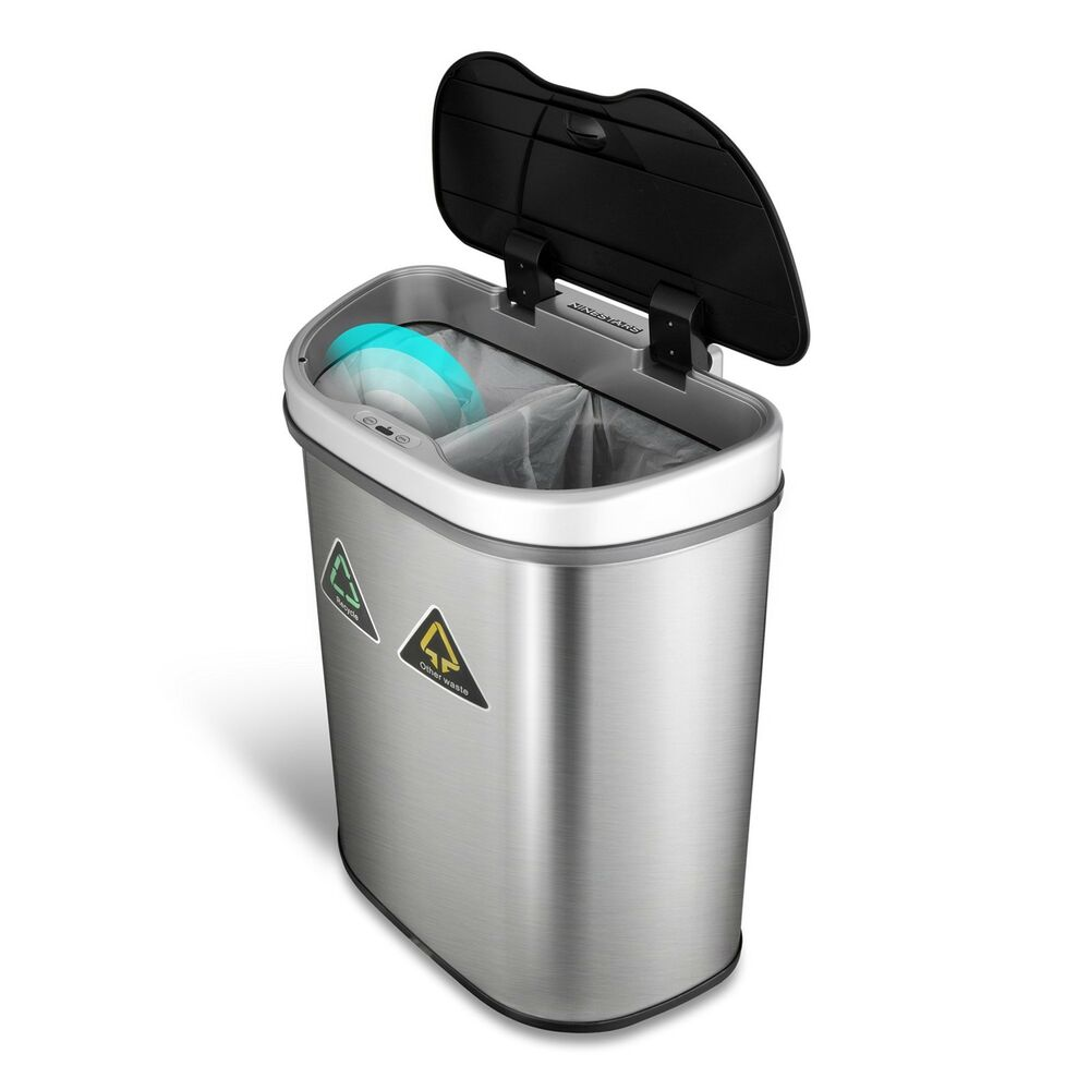 Details About Touchless Kitchen Trash Can Recycling Bin Stainless Steel Dual Garbage Indoor