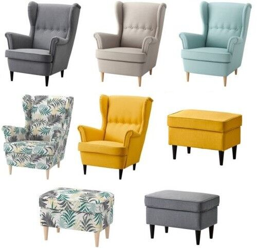 New IKEA STRANDMON Wing Chair & Footstool,Many Colours ...