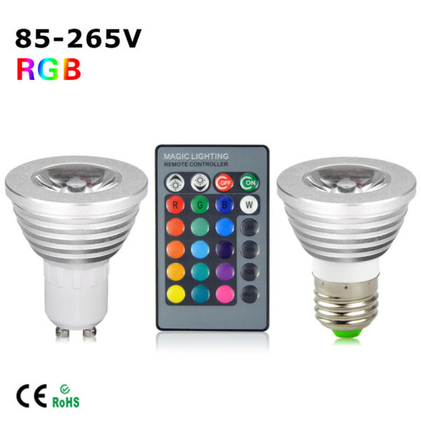 E27 GU10 5W RGB LED Light Bulb Spotlight Lamp Dimmable 16 Color + Remote Control