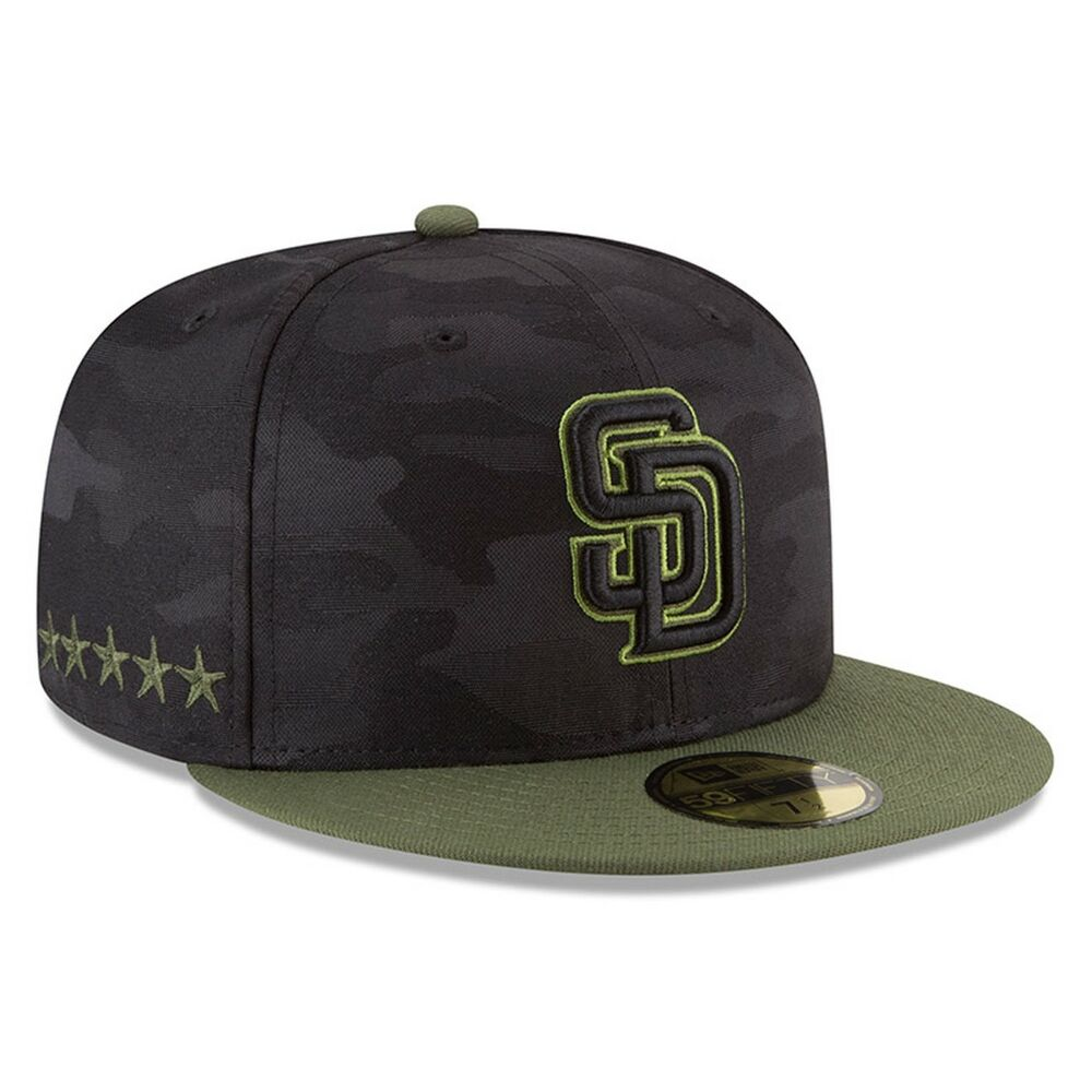 finest selection 97f45 f7f55 Details about San Diego Padres New Era Black 2018 Memorial Day On-Field  59FIFTY Fitted Hat Men
