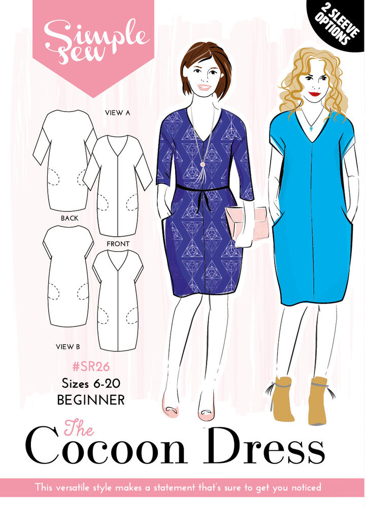Womens BEGINNER The Cocoon Dress UK SIZES 8-20 Ladies Sewing Pattern ...