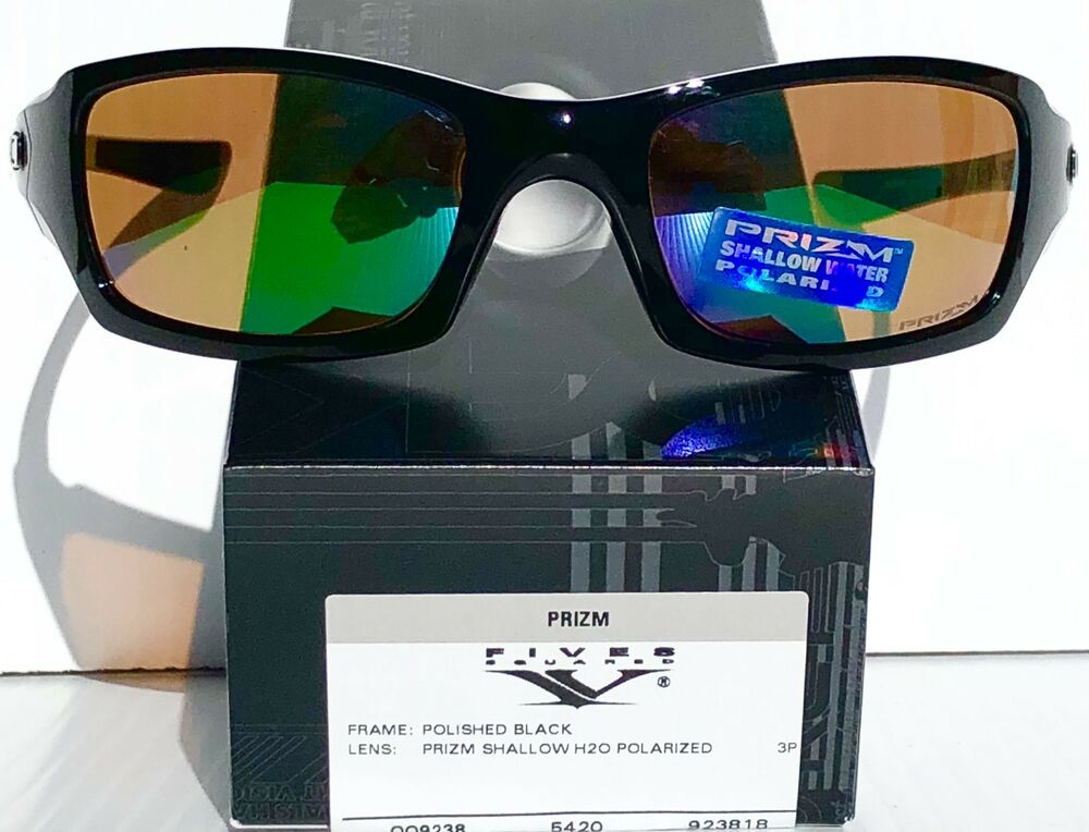 0b12fb86810e5 NEW  Oakley FIVES Squared Black POLARIZED Shallow Water Angler Sunglass 9238 -18 888392086341