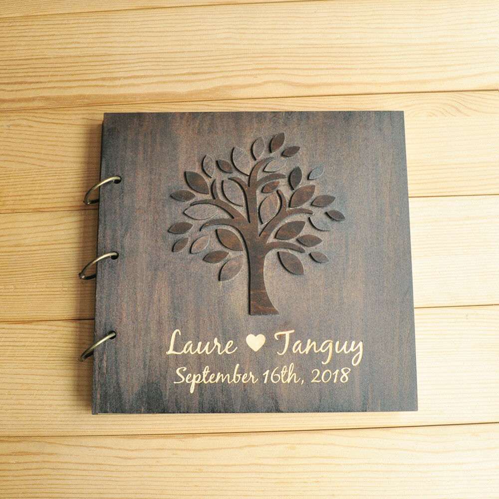 Wedding Guest Book Wood Guest Book Wedding Guestbook: Personalized Wedding Guest Book, Custom Guestbook, Wooden